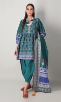 A beautiful off-white 3 piece unstitched light khaddar outfit with stylized prints.