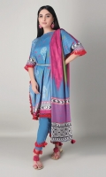 A lovely blue 3 piece unstitched marina outfit with stylized prints.