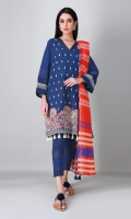 A lovely blue 3 piece unstitched crosshatch outfit with floral prints.