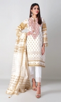 A pure white 3 piece unstitched crosshatch outfit with geometric prints.