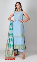 A lovely blue 3 piece unstitched crosshatch outfit with stylized prints.