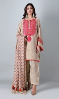 An off-white 3 piece unstitched khaddar outfit with stylized prints.