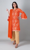 A bold rust 3 piece unstitched khaddar outfit with floral prints.