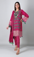 A pretty purple 3 piece unstitched light khaddar outfit with floral prints.