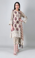 A soothing beige 3 piece unstitched light khaddar outfit with floral prints.