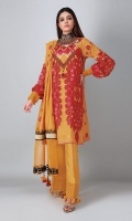A sunny yellow 3 piece unstitched cotton net outfit with stylized prints.