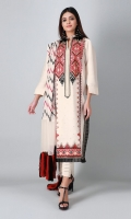 A beautiful off-white 3 piece unstitched cotton net outfit with geometric prints.