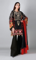 A bold black 3 piece unstitched cotton net outfit with stylized prints.