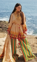 A calming beige 3 piece unstitched khaddar outfit with stylized prints.