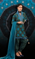 A fresh green 3 piece unstitched khaddar outfit with floral prints.