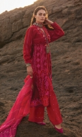 A warm red 3 piece unstitched cotton net outfit with stylized prints.