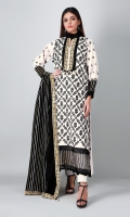 A pure white 3 piece unstitched khaddar outfit with stylized prints.