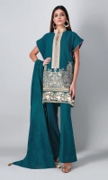 A lovely blue 3 piece unstitched khaddar outfit with floral prints.