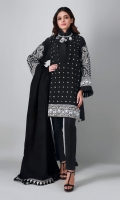A bold black 3 piece unstitched khaddar outfit with floral prints.