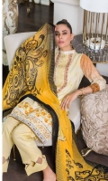 Shirt: Printed Lawn Dupatta : Printed Chiffon Trouser: Dyed Embroidery: -Embroidered Gala -Embroidered Daman on Shirt