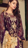 Elegant High Grade Chiffon Shirt With Gracefull Fully Embroidered Front and Back Shirt Heavy Embroidered Chiffon Dupatta Matching Silk Trouser