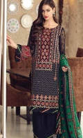 Elegant High Grade Chiffon Shirt With Gracefull Fully Embroidered Front and Back Shirt Heavy Embroidered Chiffon Dupatta Silk Trouser