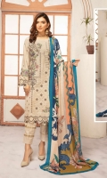 Embroidered Peach Leather Embroidered Wool Shawl Plain Trouser