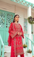 1 Meter Embroidered Front 1 Meter Embroidered Back 0.5 Meter Embroidered Sleeves 2.5 Meter Chiffon Dupatta 2.5 Meter Cotton Trousers