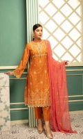 1-meter embroidered front 1-meter embroidered back 0.5-meter embroidered sleeves 2.5-meter chiffon embroidered dupatta 2.5-meter plain trousers