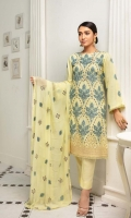 Its self textured linen 1.35 meter embroidered front 1.85 meter embroidered back and sleeves 2.5 yards embroidered chiffon dupatta 2.5 meter trousers