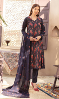 Front 1.35 Meter Embroidered Back and Sleeves 1.85 Meter Embroidered 2.5-Meter Chiffon Duppata Embroidered 2.5-Meter Plain Trousers