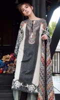 Shirt Front: Printed 1.25 meters Shirt Back: Printed 1.25 meters Sleeves: Printed 1 Pair Dupatta: Printed 2.5 meters Trouser: Printed 2.5 meters