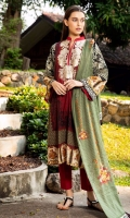 Shirt Front: Printed/Embroidered 1.25 meter Shirt Back: Printed 1.25 meter Sleeves: Printed 1 Pair Dupatta: Lawn/Printed 2.5 meter Trouser: Dyed 2.5 meter