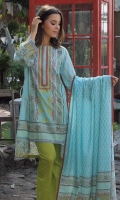 Shirt Front: Printed/Embroidered 1.25 meter Shirt Back: Printed 1.25 meter Sleeves: Printed 1 Pair  Dupatta: Printed 2.5 meter