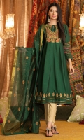 A multi panel frock in bottle green with a Persian vibe, it has an embroidery with paisley on yoke, full sleeves with embroidery in stripes, and motifs on hem. It is finished with gold dori detail and comes with an embroidered cotton net dupatta.
