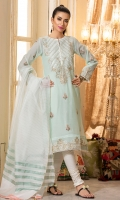 Paper cotton in a soothing ice Aqua color, with mock sheesha work on neckline, and detailed embroidery on hem and sleeves with booti on front. It comes with a cotton net wove dupatta in White & ice Aqua, finished with tassels.