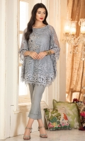 A rich embroidered net poncho in the so on trend grey color with border, hand work on neckline and handwork motif.