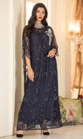 Navy blue kaftan in embroidered net fabric with one hand work motif on shoulder with 3D effect.