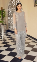 Grey embroidered net trousers in a flared cut, with a slim fit organza shirt with embroidered fabric borders on hem & sleeves. The yoke has detailed handwork with 3-d effect, beads and crystal and front is done with hand work beads & crystal spray.