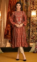 Jamawar cotton net 3 panel shirt in a deep amber shade with applique and golden embroidery on neckline and golden lace finishing.