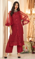 Long shirt dress in a deep red colored embroidered net with red pearls,and a plunge insert neckline with handwork. It has big volume bias cut sleeves with embroidery detail.
