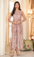 Nude pink net dress in a self embroidered fabric, with a detailed embroidered yoke in shades of pink. It has full fitted net sleeves and comes with fitted trousers.