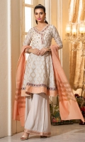 A short peplum in a classic cream colored jamawar cotton net , with embroidery, peach and borders and gota details. It comes with loose flared pants and a peach cotton net dupatta.