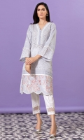Sky blue chikan and lawn shirt with white laces and pleating detail and an embroidered border on organza extension.