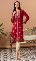 Lawn shirt in deep maroon with embroidery all over, printed border and cuffs, and buttons details.