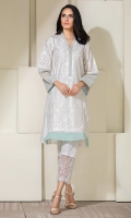 White self striped cotton shirt with self embroidery all over and a soft sea green printed border on sleeves and neckline.