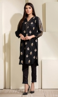 Multi color embroidered booti on self texture jacquard , piping details and pleated box pleat in sleeves.