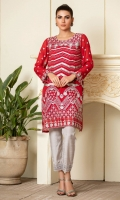Deep red chiffon shirt with grey embroidery all over.