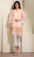 Peach colored chikan shirt with organza extension with embroidery, and white laces detailing.