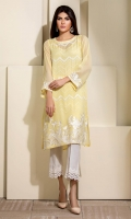Soft lime yellow chiffon shirt with white embroidery and sequins all over the front.
