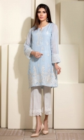 Sky blue chiffon shirt with delicate white embroidery and mock sheesha Patti on neckline.