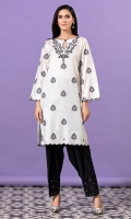 White shirt with black single stitch embroidery all over and scalloped hem and sleeves.