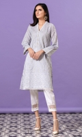 Sky blue embroidered shirt with chikan and lawn panels, white embroidery and lace detail