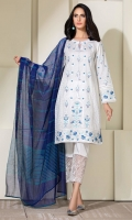 White shirt with a composed embroidery all over front in shades on blue pottery, and cotton net dupatta in similar shades.