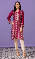 Magenta cotton net shirt with fully embroidered front , ad scalloped embroidery on hem and sleeves.